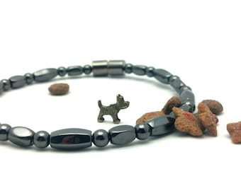 PET Magnetic Collar Homeopathic Hematite and Copper High Strength Magnetic Custom Sized pet jewelry Wellness Health