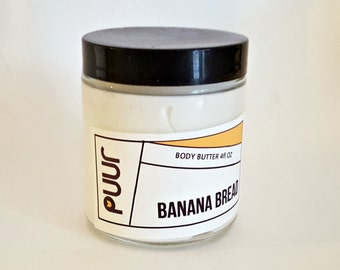 Banana Bread Body Butter Moisturizing Raw Shea Butter Body Cream Foodie Scent Lotion Paraben Free VEGAN 4oz