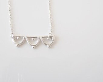 Necklace - handmade sterling silver lace necklace LN02