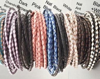 Braided Leather - Jewelry Supplies - Leather Bracelet - Leather Necklace - Leather Cord - Jewelry Making - Colored Leather - Leather Chain