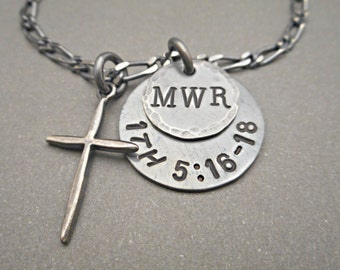 Mens Cross necklace silver - Mens Jewelry - Silver Cross - Cross Charm - Cross Pendant - Dad Necklace - Dad Jewelry - Hand Stamped Gift