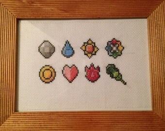 Pokemon Indigo League gym badges - framed cross stitch