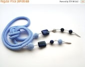 SALE Blue  bead crochet rope necklace -lariat- belt with lapis lazuli beads and beaded beads ,beaded jewelry ,lapis  jewelry, beadwork