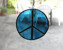 Stained Glass peace sign ornaments