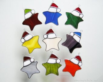Stained Glass Santa Star ornaments