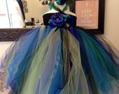 Boutique Style Peacock Tulle Tutu dress- Size 18-24 mos Custom Order Available