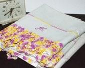 Vintage White Pillow Cases Set Standard Size Cotton Yellow Purple Crochet Trim Monogram