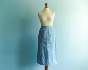 Vintage 70s Skirt A Line Pastel Blue Big Front Pockets High Waist Midi / medium