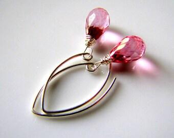 Pink Mystic Quartz Earrings Pink Earrings Gemstone Earrings Modern Minimalist Earrings Modern Jewelry Modern Earrings Pink Gemstone Jewelry