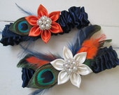 Midnight Blue & Burnt Orange Wedding Garter Set, Peacock Garters, Navy Bridal Garter w/ Olive Green Feathers, Fall Autumn Harvest Weddings