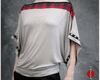 Bat Sleeves Top Loose Shirt Studded Tartan