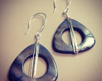 Tri Deco Shell Earrings, sterling Silver wrapped