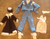 3 outfit set hand knit Barbie fashion doll clothes, brown coat, hat, mitts, dress, wooly sweater and matching pants, blue , white, pink