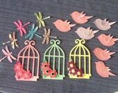 Bird Cages, Dragonflies, Pink Lavender Pastel Birdies, Scrapbooking, Cardmaking, Altered Art, Die Cut supplies, Altered art, collage