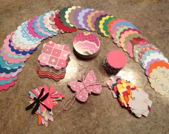 300 piece Assorted Patterned and Solid Colours DieCuts - Butterflies - Puzzle shapes - Scalloped Circle - Top Note, scalloped square