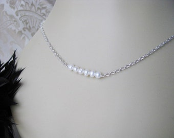 Fresh Water Pearl Wedding Bridesmaid Bridal Party Chain Necklace