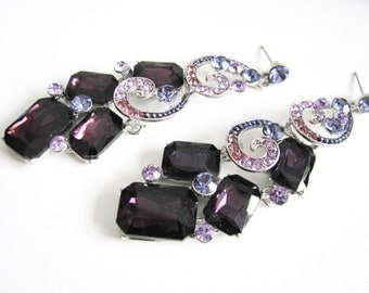 Purple Wedding Earrings Rhinestone Earrings Wedding Jewelry Bridal Accessory Bridal Earrings Bridesmaid Earrings