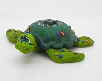 Beaded Sea Turtle Polymer Clay Sculpture