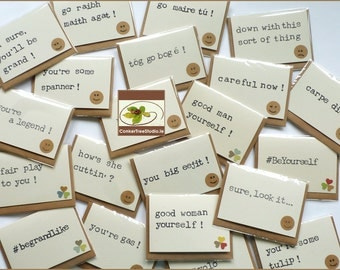 Magnetic Greeting Card SET of 5 - Fridge Magnet - Ah sure, you'll be grand!  - Fair Play To You - Hand-Stamped Notes - Handmade in Ireland