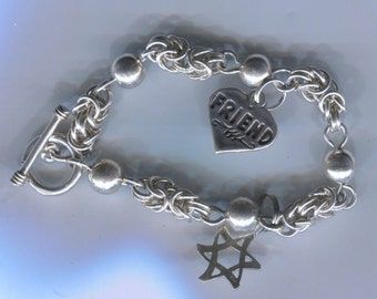 "Unique 7.25"" Sterling Silver Byzantine Ball Links - Toggle Clasp Charm Bracelet w/ 2 Charms - Star of David Heart Signed SJC (Sundancer)"