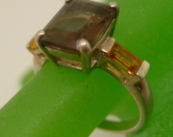 Size 8 Ring : Vintage Sterling Silver Chocolate & Butterscotch (YUM) Color Gemstones CNA   #9904