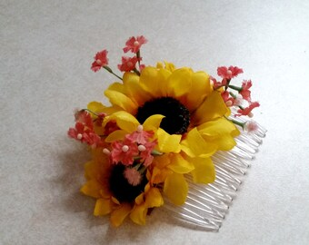 Autumn Sunflower Bridal party accessories Coral Accents hair comb summer silk flowers headpiece Budget Bride Rustic Barn Weddings Woodland