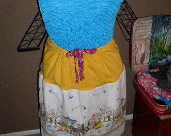Upcycled cartoon hunters basic tee shirt skirt/ re-purposed skirt/ refashioned skirt/ yellow/ white