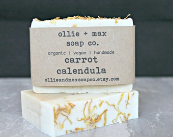 Carrot Calendula Soap, Vegan Soap, Organic Soap, Unscented Soap