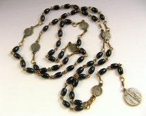 Rosary of the Seven Sorrows - Seven Dolors Rosary - Bronze and Black Onyx Catholic Chaplet