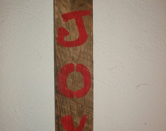 Christmas JOY Upcycled Wooden Sign Hanging Wall Decor Recycled Wood Distressed Simple Decoration Holiday Sign