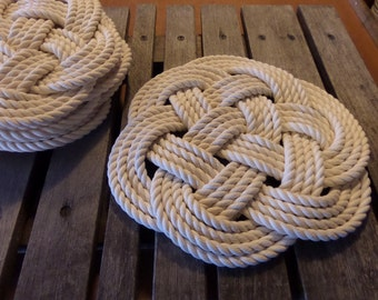 """Rope Table Placemat Centerpiece Off White Cotton Knotted Mats 13"""" Nautical Beach Marine Ocean or Rustic Decor"""