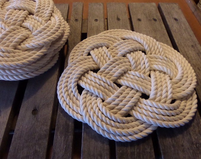 "Rope Table Placemat Centerpiece Off White Cotton Knotted Mats 13"" Nautical Beach Marine Ocean or Rustic Decor"