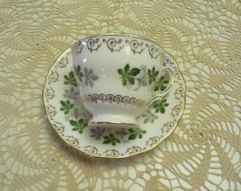 Colclough Made in England Grape Vine Decor Cup and Saucer