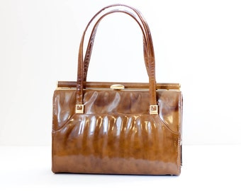 Vintage patent leather purse, tortoise shell shiny brown Lennox handbag gold buckles c1970s