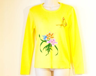 Bright yellow vintage LeRoy Knitwear sweater emboidered with butterfly and iris orchid flowers 1970s