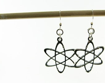 Atom Earrings - Science Jewelry - Atomic Geekery Gift - Physics, Chemistry Gift for Scientists, Teachers
