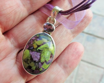 Sale, Very Beautiful Atlantisite and Amethyst Pendant, 925 Silver, Gem of Tasmania, with Organza Cord