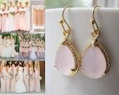 Pink Opal Drop Earrings / Dangle / Teardrop / Bridesmaids / Wedding / 14K Gold Filled Wire / Soft Pink / Baby Pink / Pale Pink / Blush Pink