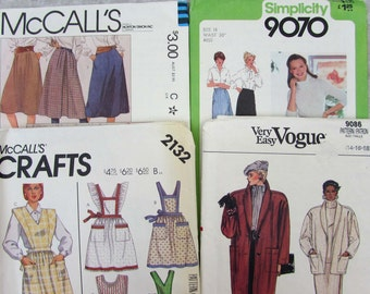 Vintage Womens sewing patterns Lot of 4 - 1970s-80 McCalls Vogue coat skirt apron blouse
