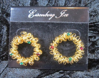 Vintage EISENBERG ICE Gold Pierced Earrings-Eisenberg Ice Earrings-Eisenberg Earrings-Gold Earrings-Round Earrings-V-EAR-587