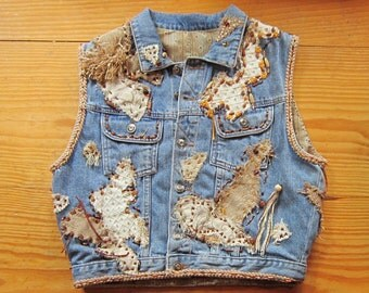 OOAK Embellished Vintage Denim Vest BELLA BELLA - Fully Lined - Upcycled Repurposed Recycled Clothing