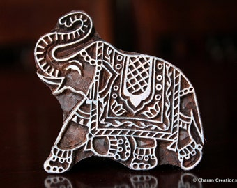 Hand Carved Stamp, Indian Wood Stamp, Textile Stamp Block, Pottery Stamp- Indian Elephant