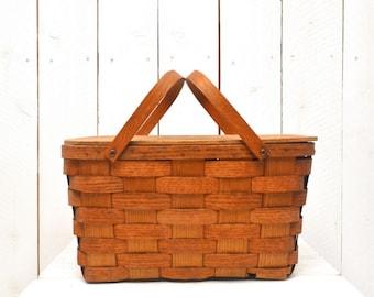 Wooden Picnic Basket 1940s Wood Slat Vintage Double Handle Vermont Basketville Basket