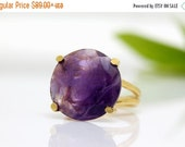 VALENTINES DAY SALE - Amethyst ring,gold ring,gemstone ring,cocktail ring,February birthstone ring,purple ring,semi precious ring