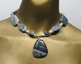 SALE Black and grey marble stone necklace made with hemp. Long ties in back. HCK-357
