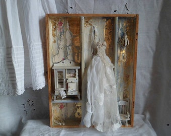 wooden boxed art assemblage One upon a time