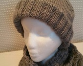 Soft Cable Knit Unisex Grey Scarf and Hat Set Ready to Be Shipped
