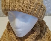 Soft Cable Knit Unisex Honey Gold Scarf and Hat Set Ready to Be Shipped