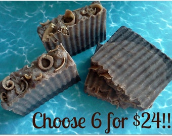 6 for 24 Natural Handmade Soap Lot SALE. Large 4 to 5 oz bars. Mix n Match. Many Varieties, Vegan, Gluten Free, Premium Quality.