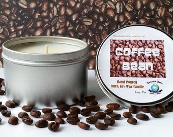8 oz Coffee Bean 100% Soy Candle. Hand Poured, Highly Fragranced, Long Burn. Eco Friendly, Reusable Tin. Vegan